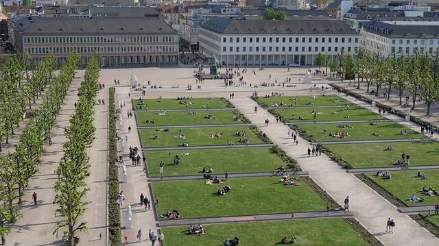 Wiese vor dem Schloss in Karlsruhe